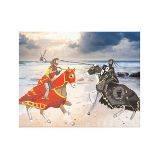 Middeleeuwse Joust op de Herontworpen Kust Canvas Afdruk