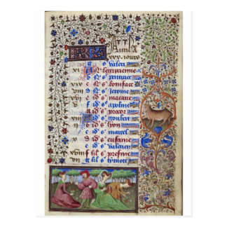Middeleeuwse kalender: April Briefkaart
