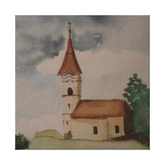 Middeleeuwse Kerk Watercolour Canvas Bedrukken