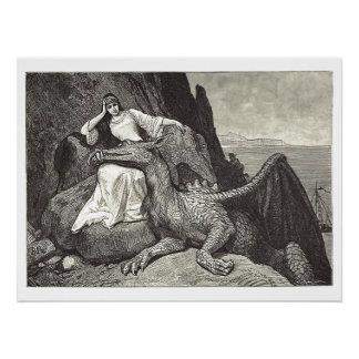 Middeleeuwse Koningin en Haar Draak van het Perfect Poster