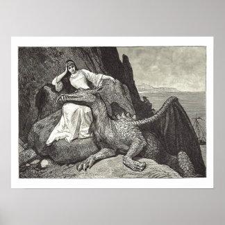 Middeleeuwse Koningin en Haar Draak van het Poster
