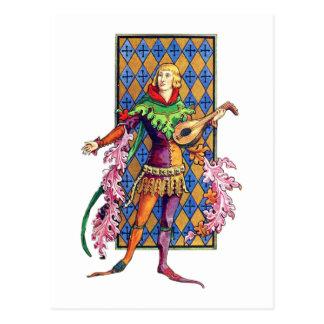 Middeleeuwse Minstreel en Luit Briefkaart