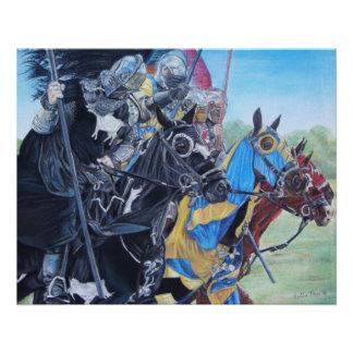 middeleeuwse ridders die op paarden historisch perfect poster