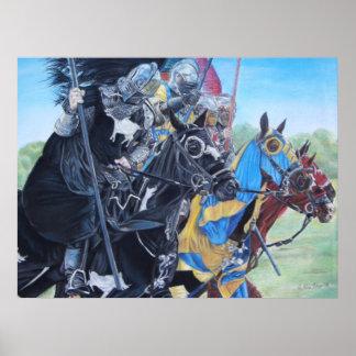 middeleeuwse ridders die op paardenart. jousting poster