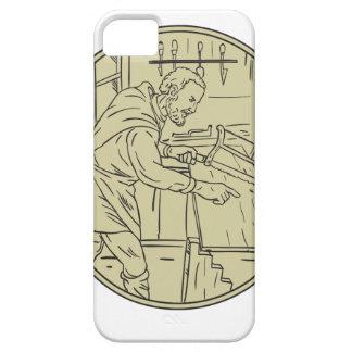 Middeleeuwse Timmerman die Houten Retro Cirkel Barely There iPhone 5 Hoesje