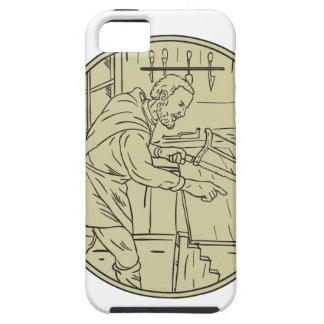 Middeleeuwse Timmerman die Houten Retro Cirkel Tough iPhone 5 Hoesje