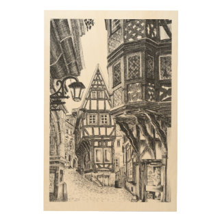 Middeleeuwse Townscape Houten Canvas