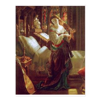 Middeleeuwse vrouwenslaapkamer briefkaart