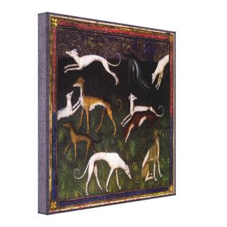 Middeleeuwse Windhonden in het Bos Canvas Print