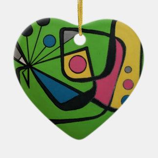 """""""Midden van de eeuw Moderne Abstracte #4"""" op a Keramisch Hart Ornament"""