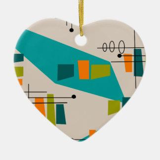 Midden van de eeuw Moderne Abstracte #55 Keramisch Hart Ornament