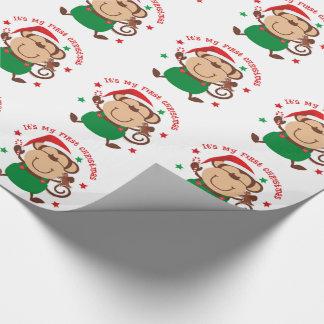 Mijn Aap van de Kerstman van Eerste Kerstmis Cadeaupapier