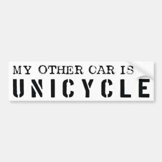 Mijn Andere Auto is een Unicycle Bumpersticker