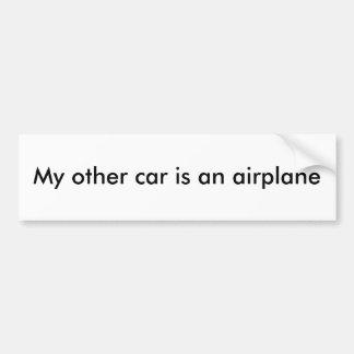 Mijn andere auto is een vliegtuig bumpersticker