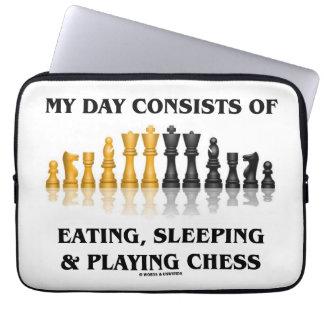Mijn Dag bestaat uit het Eten, Slapend het Spelen Laptop Hoesje