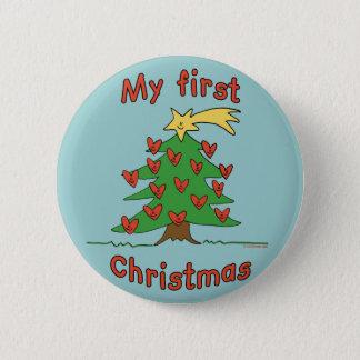 Mijn Eerste Kerstmis (het Gelukkige ontwerp van de Ronde Button 5,7 Cm