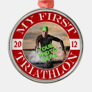 Mijn Eerste Triathlon - Klantgerichte Foto en Jaar Zilverkleurig Rond Ornament