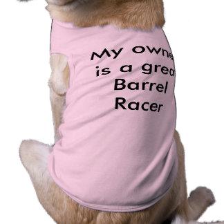 Mijn eigenaar is een Raceauto van het Vat Mouwloos Hondenshirt