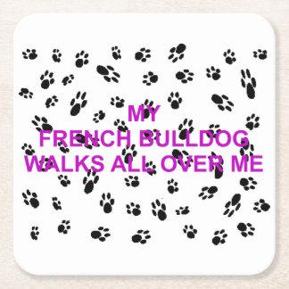 mijn Franse buldoggangen op me Vierkante Onderzetter