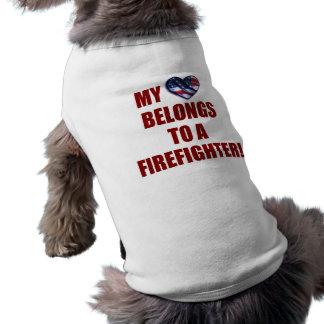 Mijn Hart behoort tot een Brandbestrijder Mouwloos Hondenshirt