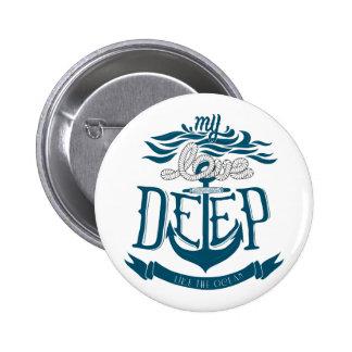 Mijn liefde is diep als de oceaan ronde button 5,7 cm