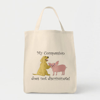 Mijn medeleven onderscheidt niet! veganist zak boodschappen draagtas