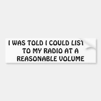 Mijn Radio bij een Redelijk Volume Bumpersticker
