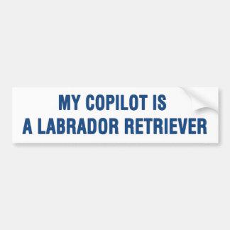 Mijn tweede piloot is een Labrador Bumpersticker