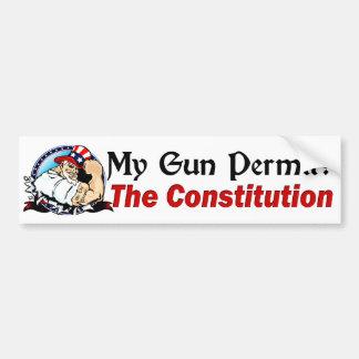 Mijn Vergunning van het Pistool? De grondwet! Bumpersticker