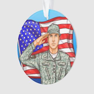 Militair en Amerikaanse Vlag - Appreciatie Ornament