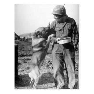 Militair en Zijn Duitse herder WO.II Briefkaart