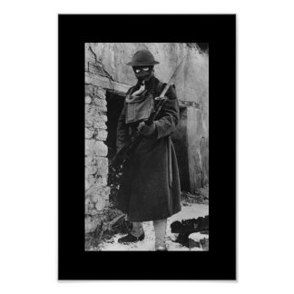 Militair WWI in Gasmasker Poster