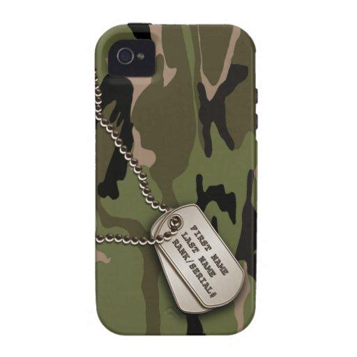 Militaire Groene Camo met het Label van de Hond Case-Mate iPhone 4 Hoesje