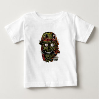 militaire zombie met mes in mond baby t shirts