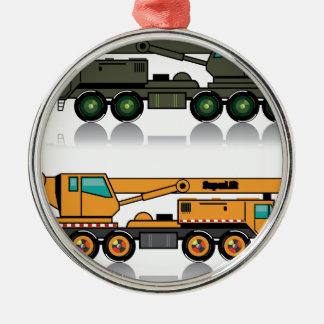 Militaire zware kraanvrachtwagen zilverkleurig rond ornament