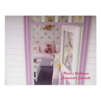 Miniatuur draag in een MiniatuurPlattelandshuisje Briefkaart