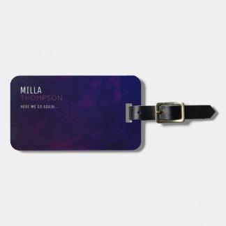 minimale moderne paars-blauwe elegant bagagelabel