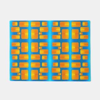 Minimalism Abstracte Aqua en Helder Sinaasappel Deurmat