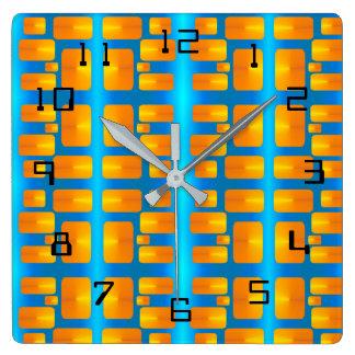 Minimalism Abstracte Aqua en Helder Sinaasappel Vierkante Klok