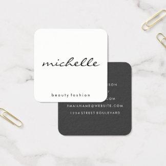 Minimalistisch Duidelijk Wit met Cursieve Teksten Vierkante Visitekaartjes