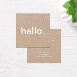 Minimalistisch Rustiek Kraftpapier Hello Vierkant Visitekaartjes