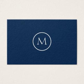 Minimalistische Elegante Donkerblauw Met monogram Visitekaartjes