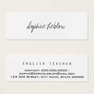 minimalistische elegante Engelse leraar Mini Visitekaartjes