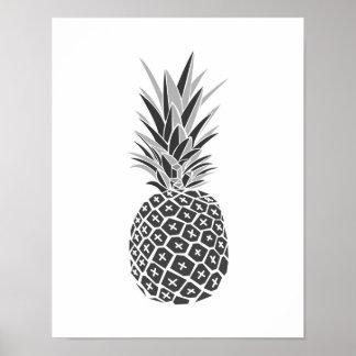 Minimalistische Zwarte & Witte Ananas Poster
