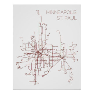 Minneapolis-St. Paul Transit Routes (Druk) Poster