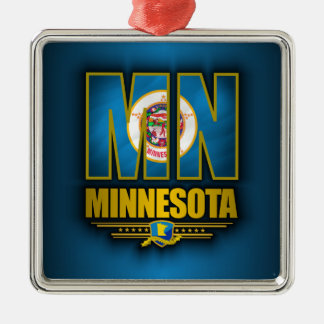 Minnesota (MN) Zilverkleurig Vierkant Ornament