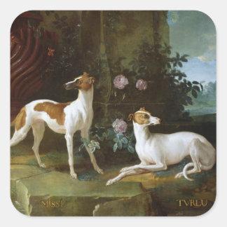 Misse en Turlu, twee windhonden van Louis XV Vierkante Stickers
