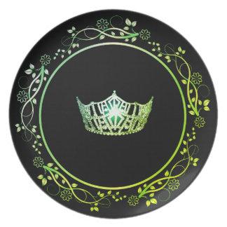 Misser America Green Crown Plate met BloemenGrens Melamine+bord