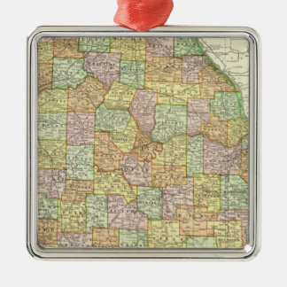 Missouri 6 zilverkleurig vierkant ornament