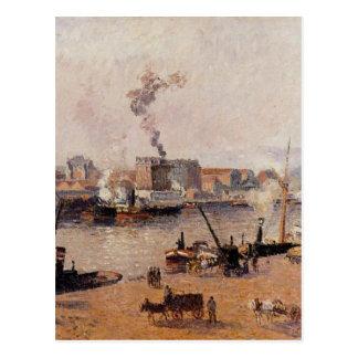 Mistige Ochtend, Rouen door Camille Pissarro Briefkaart